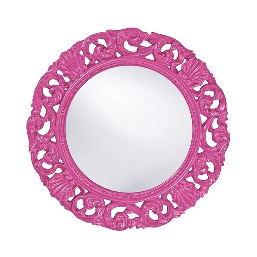 2019 Tyler Dillon Glendale 26 In L X 26 In W Hot Pink Framed Round Wall With Regard To Pink Wall Mirrors (View 1 of 20)