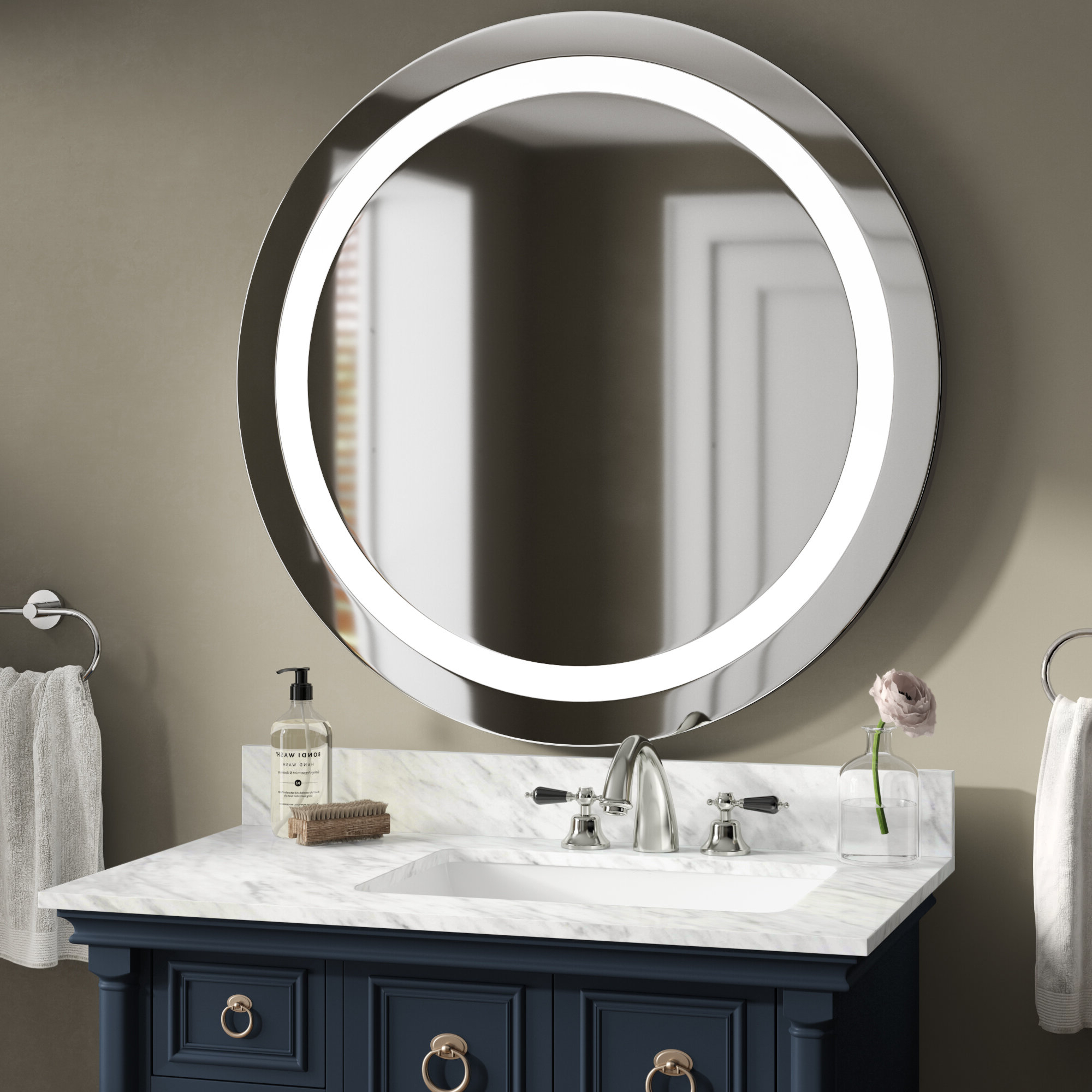 2019 Vanity Wall Mirrors For Bathroom Within Ehrhart Illuminated Bathroom/vanity Wall Mirror (View 18 of 20)
