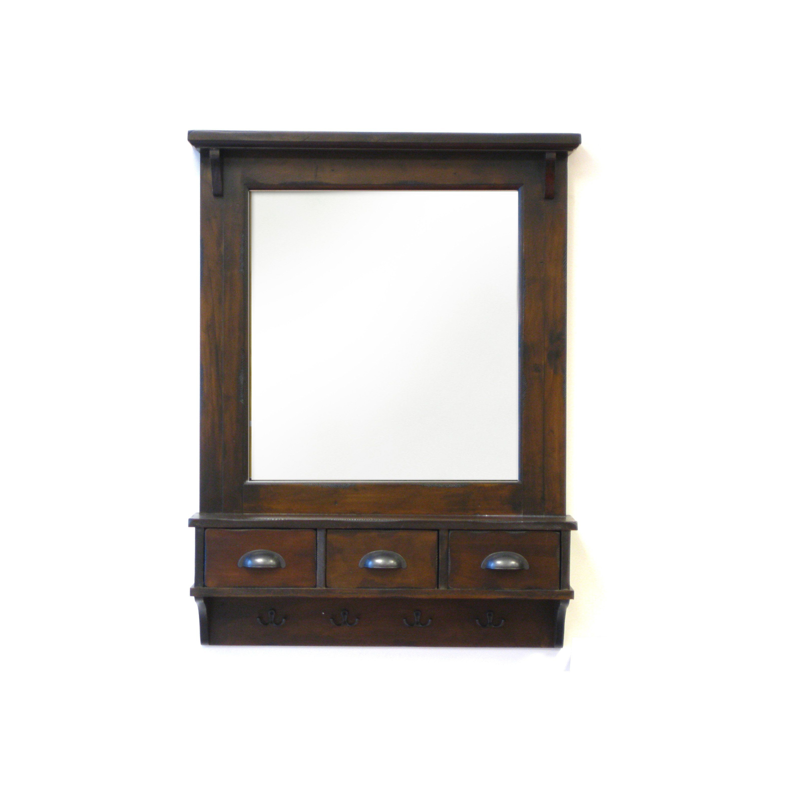 2019 Wall Mirrors With Shelf And Hooks For Bombay Wall Mirror W/ Drawer Storage & Hooks – 27W X 37H In (View 17 of 20)