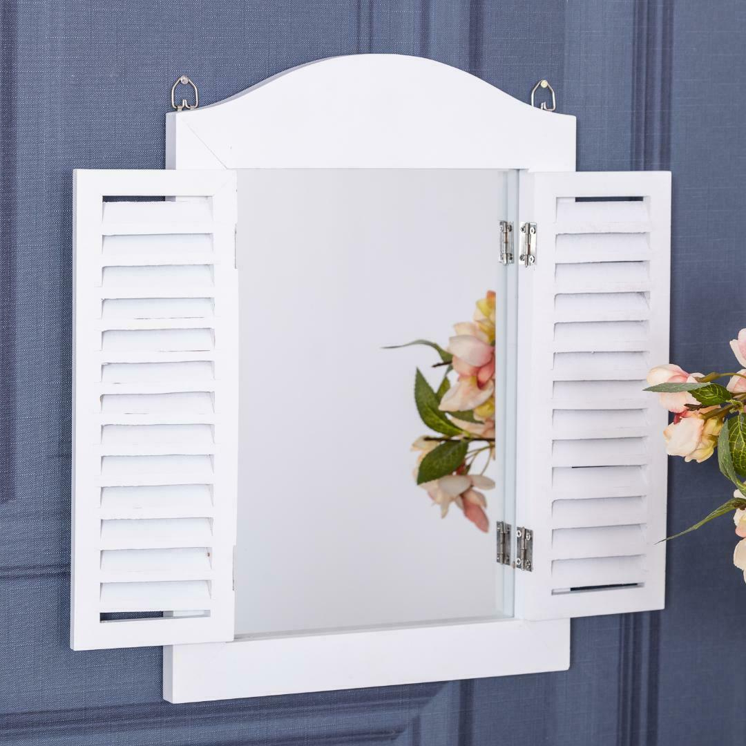2019 Wall Mirrors With Shutters Inside Details About White Wall Mirror With Shutters Hallway Shabby Vintage Chic Home Accessory Gift (View 9 of 20)