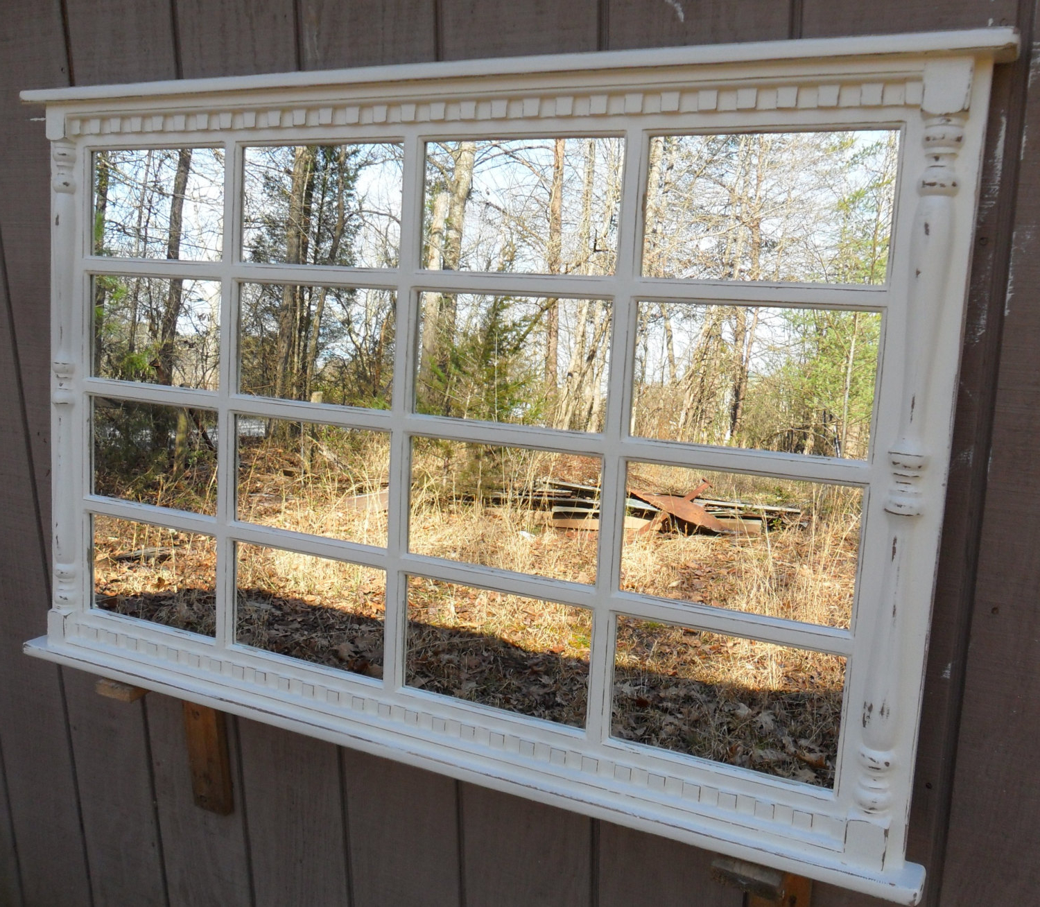 2019 Window Cream Wood Wall Mirrors With Awesome Window Pane Mirrors (View 11 of 20)