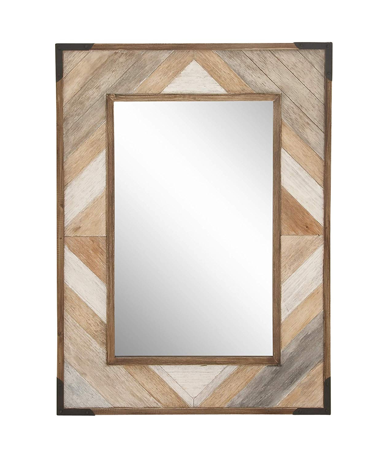 "2019 Wooden Wall Mirrors Pertaining To Deco 79 44453 Wooden Wall Mirror, 38"" X 28"", Brown/white/gray (View 13 of 20)"