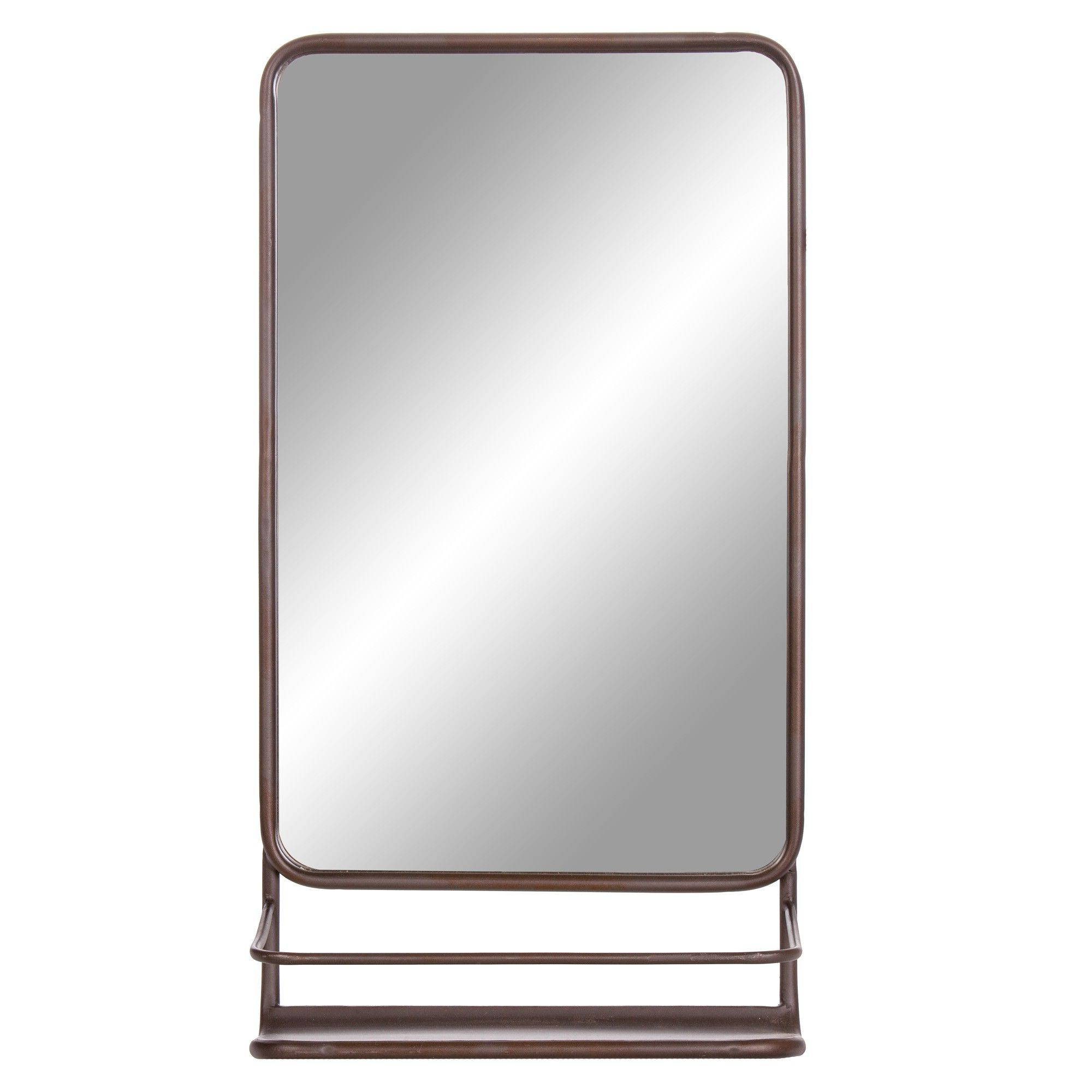 "2020 16""x30"" Metal Wall Accent Mirror With Shelf Bronze – Patton Wall Inside Peetz Modern Rustic Accent Mirrors (View 8 of 20)"
