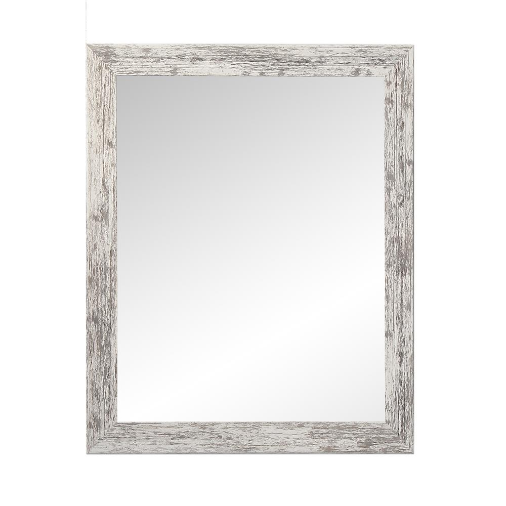 2020 Brandtworks Distressed Rectangle White Decorative Wall Intended For White Decorative Wall Mirrors (View 8 of 20)