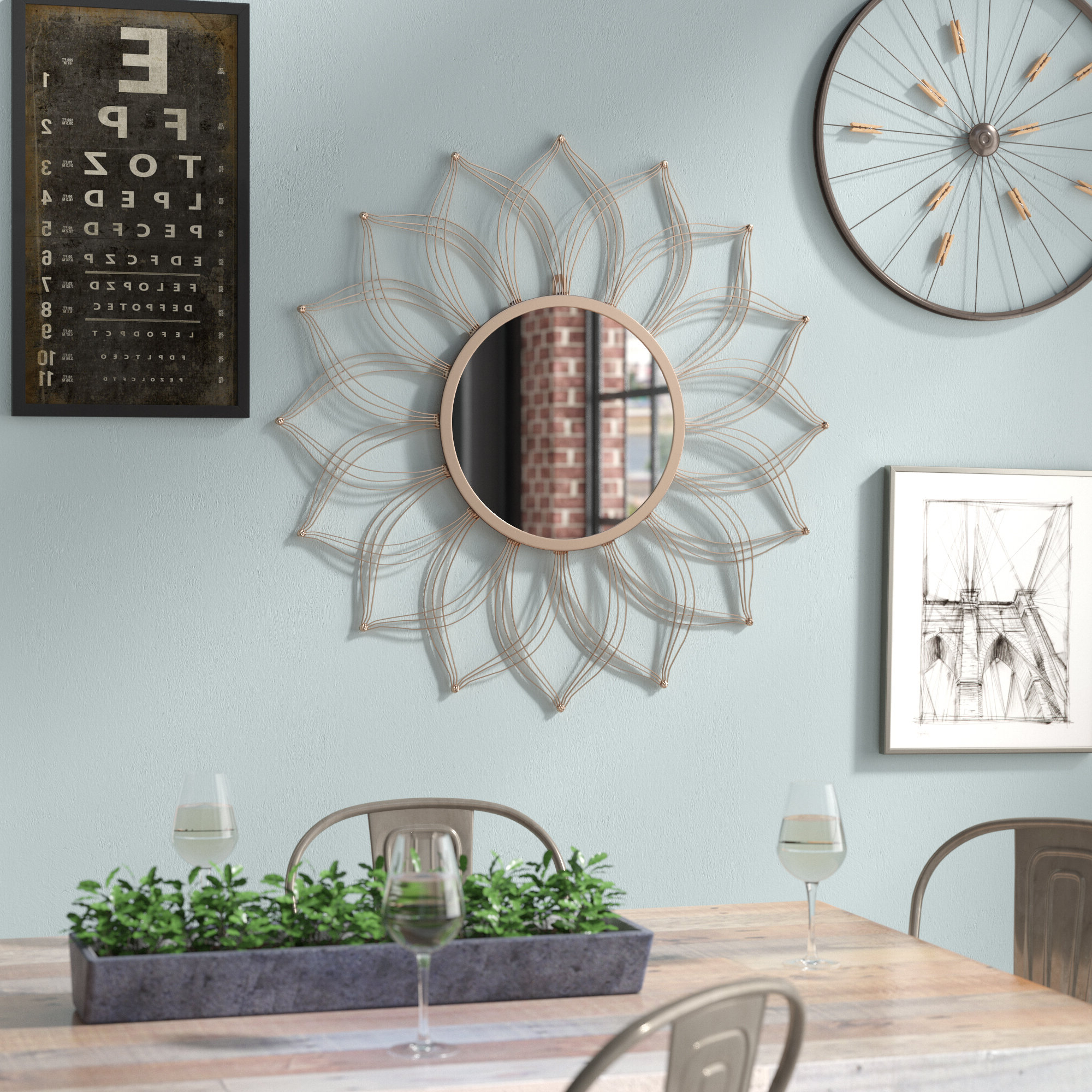 2020 Brylee Traditional Sunburst Mirrors Within Hail Flower Petal Accent Mirror (View 20 of 20)