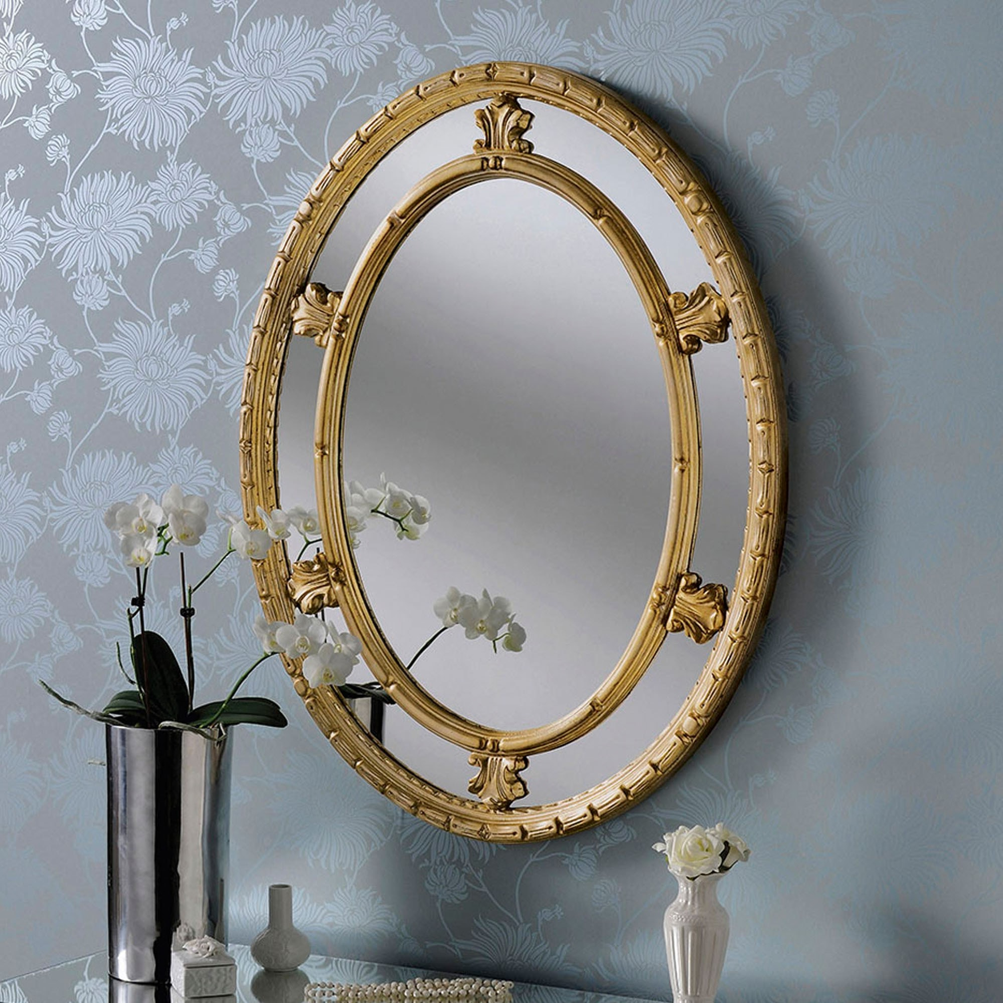 2020 Circular Wall Mirrors Inside Antique French Style Gold Circular Wall Mirror (View 12 of 20)