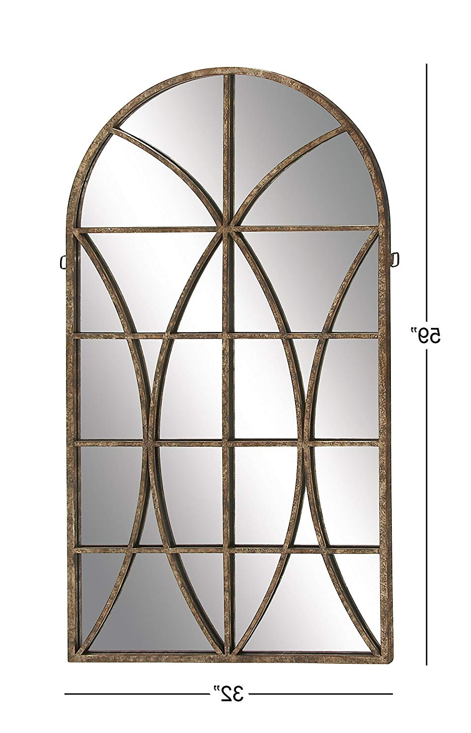 "2020 Deco 79 Metal Wd Wall Mirror, 32 By59"" Within Traditional Metal Wall Mirrors (View 6 of 20)"