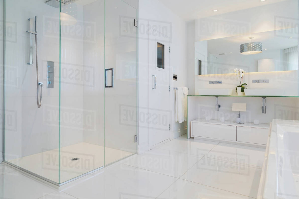 2020 Detail Of White Rectangular Bathtub, Wall Mirror, Glass Shower Stall And Sauna Room Door In En Suite With Ceramic Tile Flooring, Upstairs Inside Pertaining To Wall Mirror For Bathroom (View 10 of 20)