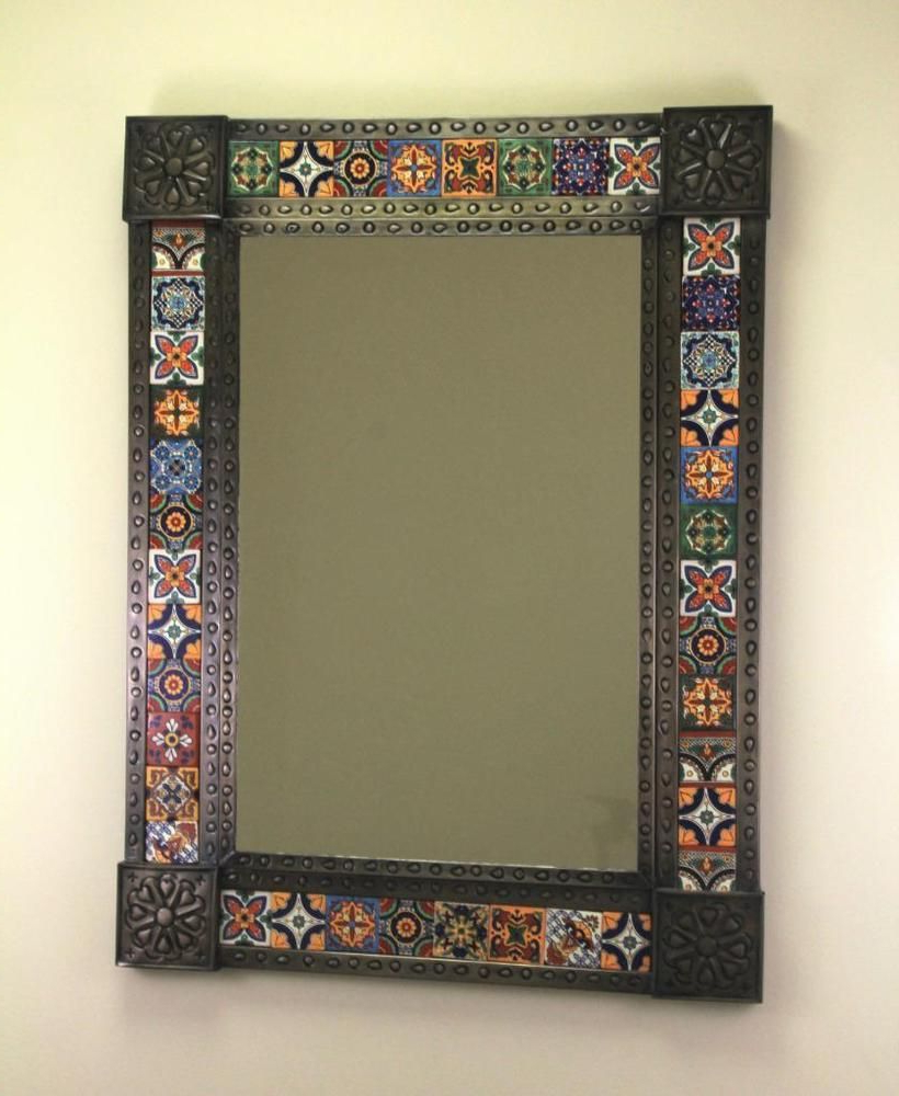 2020 Details About Punched Tin Mirror With Mixed Talavera Tile Pertaining To Mexican Wall Mirrors (View 1 of 20)