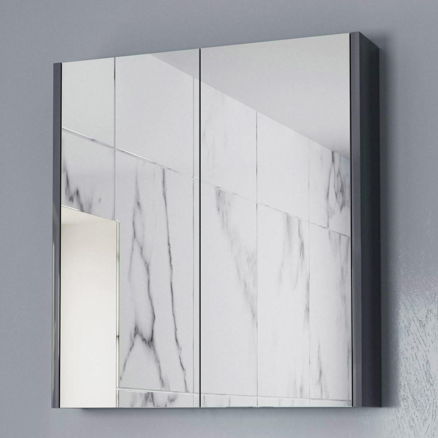 2020 Fancy Bathroom Wall Mirrors In 600mm Bathroom Mirror Cabinet 2 Door Storage Cupboard Wall Mounted Grey Gloss (View 10 of 20)