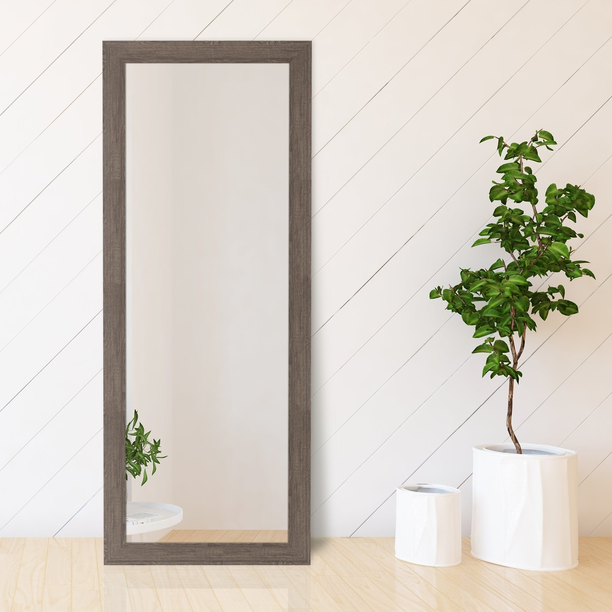 2020 Gallery Solutions Graywash Woodgrain Framed Accent Wall Mirror – Grey In Farmhouse Woodgrain And Leaf Accent Wall Mirrors (View 15 of 20)