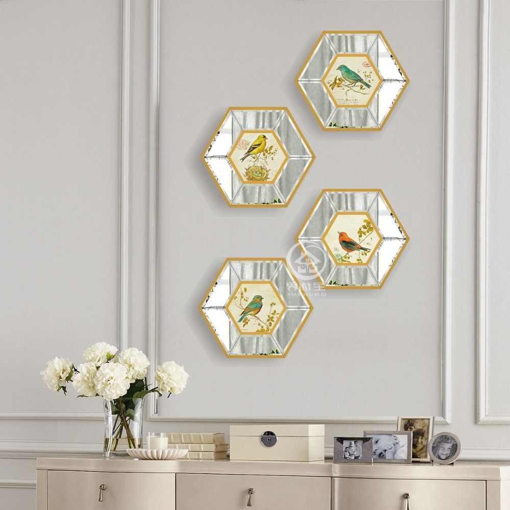 2020 Hexagon Glass Wall Mirror Photo Frame Art Mirrored Picture Frame Console  Mirror Set Wall Decorative Mirror Pertaining To Wall Mirrors With Art (View 4 of 20)