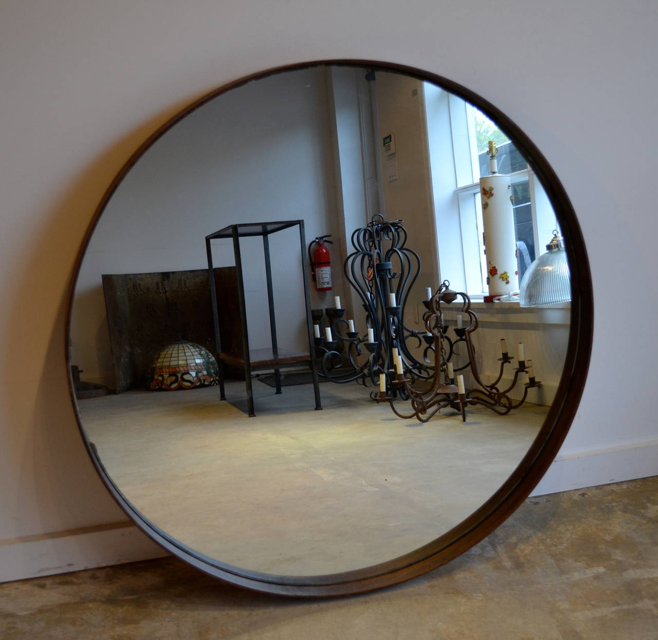 2020 Industrial Round Metal Band Mirror Throughout Round Metal Wall Mirrors (View 19 of 20)