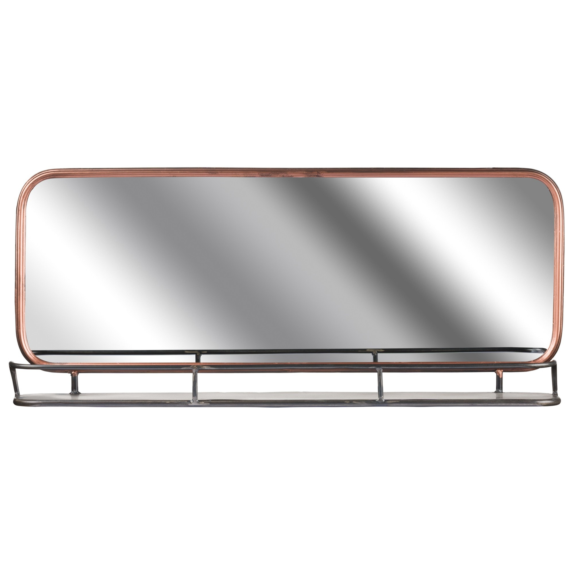 2020 Industrial Wall Mirrors In Industrial Copper Effect Wall Mirror With Shelf (View 2 of 20)