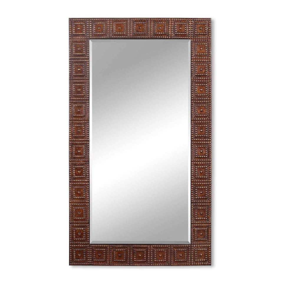 """2020 Large Elegant Wall Mirrors Intended For 71"""" Large Elegant Rectangular Brown And Gold Beaded Detailed Wall Mirror (View 1 of 20)"""