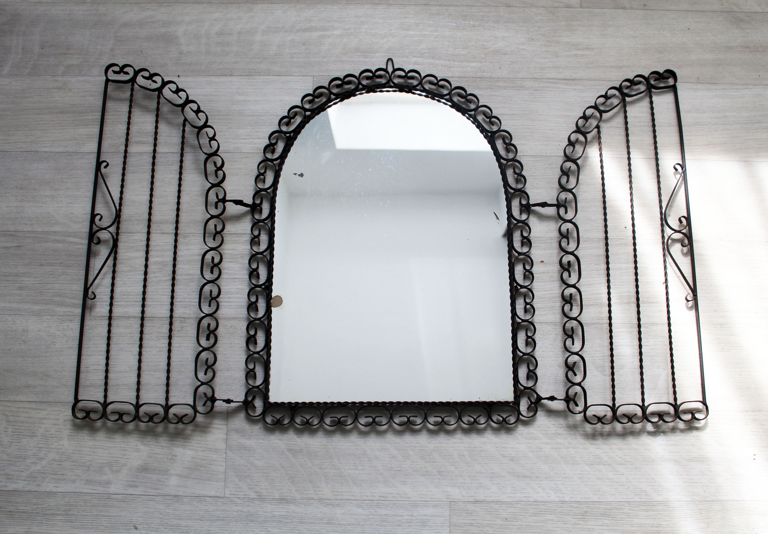 2020 Large Vintage Wrought Iron Mirror With Hinged Doors, Outdoor Iron Mirror, Spanish Vintage Mirror, Wall Hanging Rustic Decor, Arch Mirror Regarding Hinged Wall Mirrors (View 11 of 20)