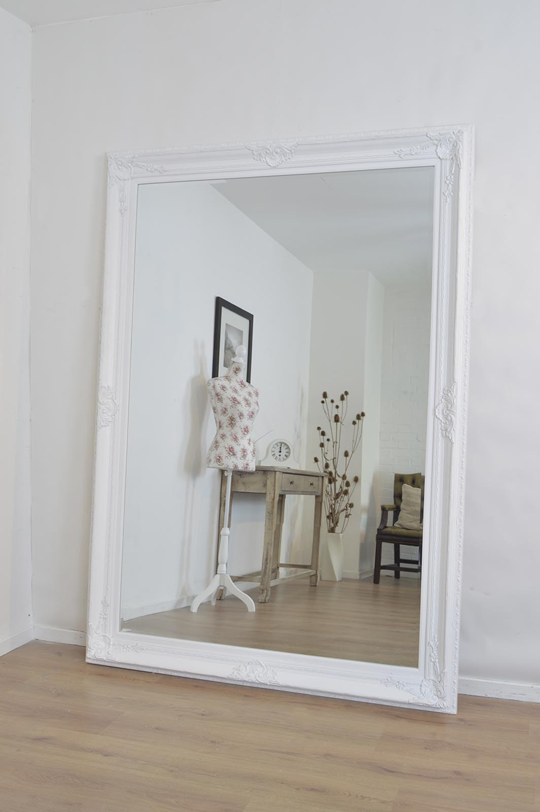 2020 Large White Wall Mirror V Sanctuarycom Decorative Mirrors Oversized Within Antique White Wall Mirrors (Gallery 5 of 20)
