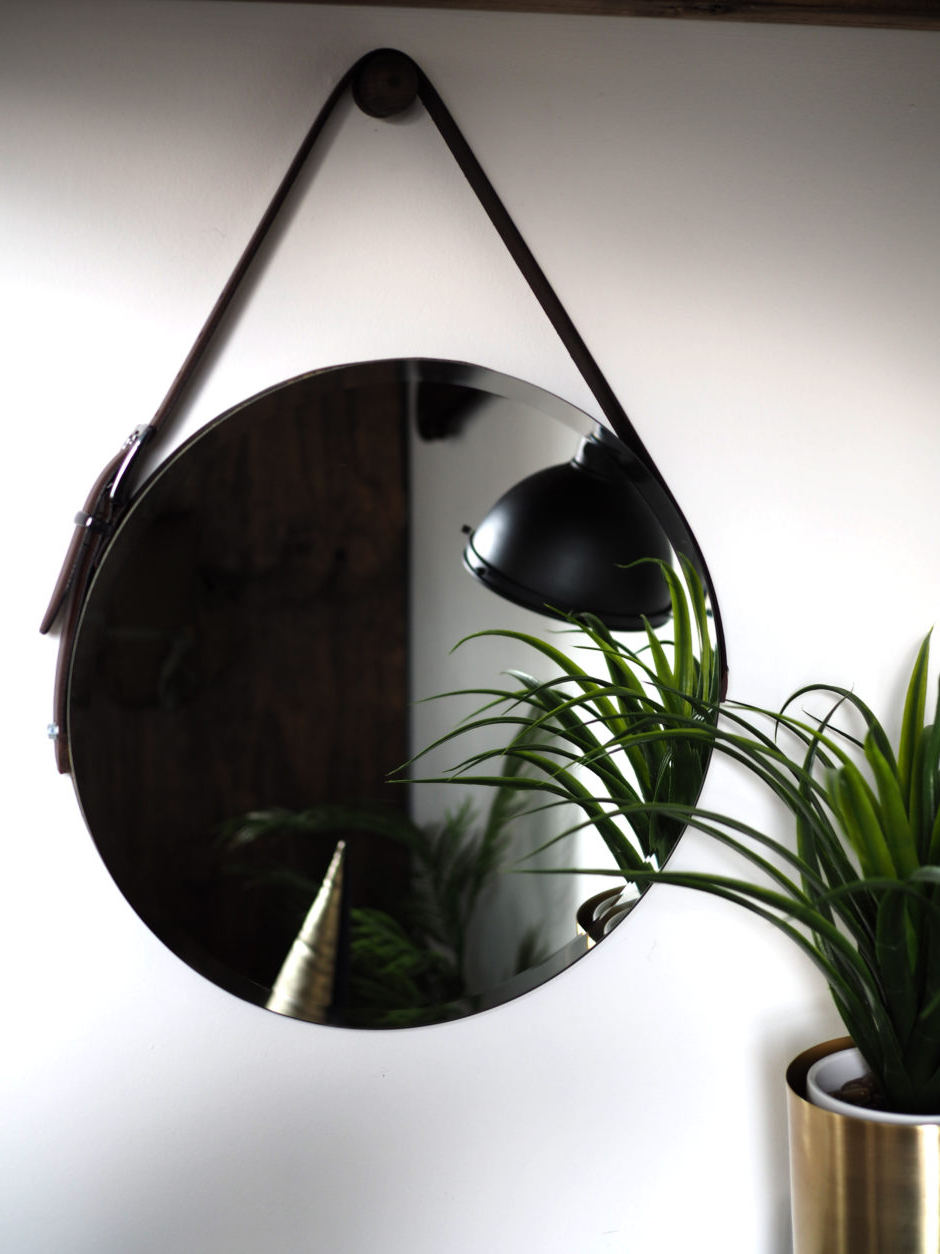 2020 Leather Wall Mirrors With Regard To Diy Round Mirror With Leather Strap And Hanging Peg – Raspberry (View 2 of 20)