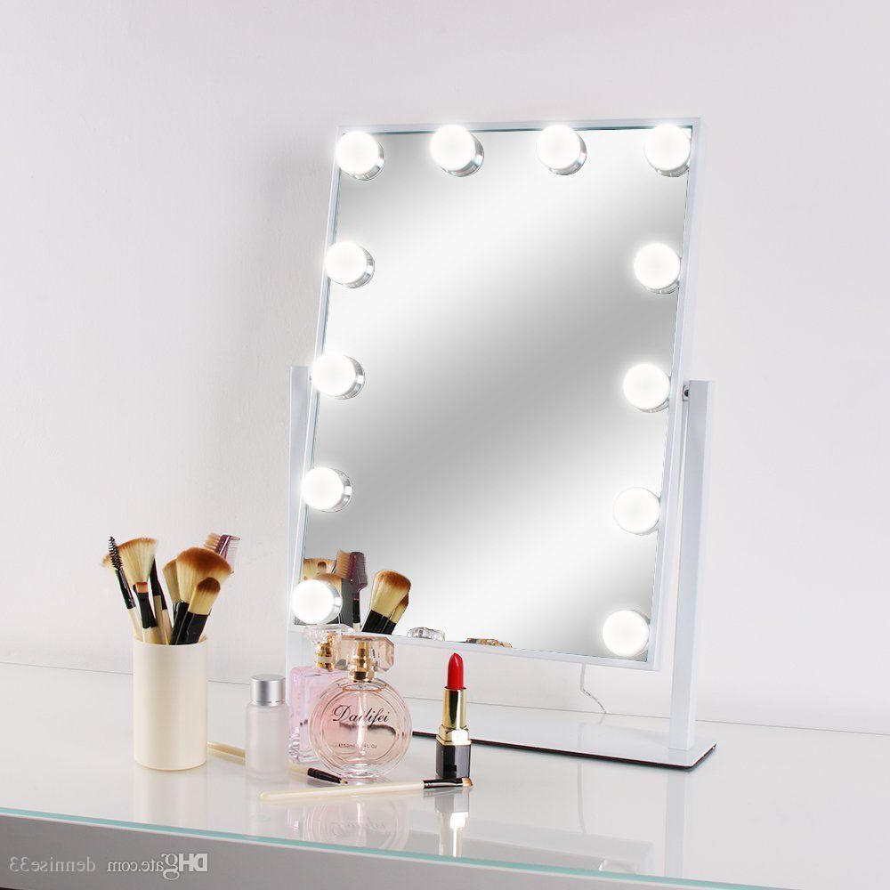 2020 Led Bulb Vanity Lighted Hollywood Makeup Mirror With Dimmer Stage Beauty Mirror Vanity Mirror With Lights For Gift Makeup Bag For Vanity Mirrors (View 14 of 20)