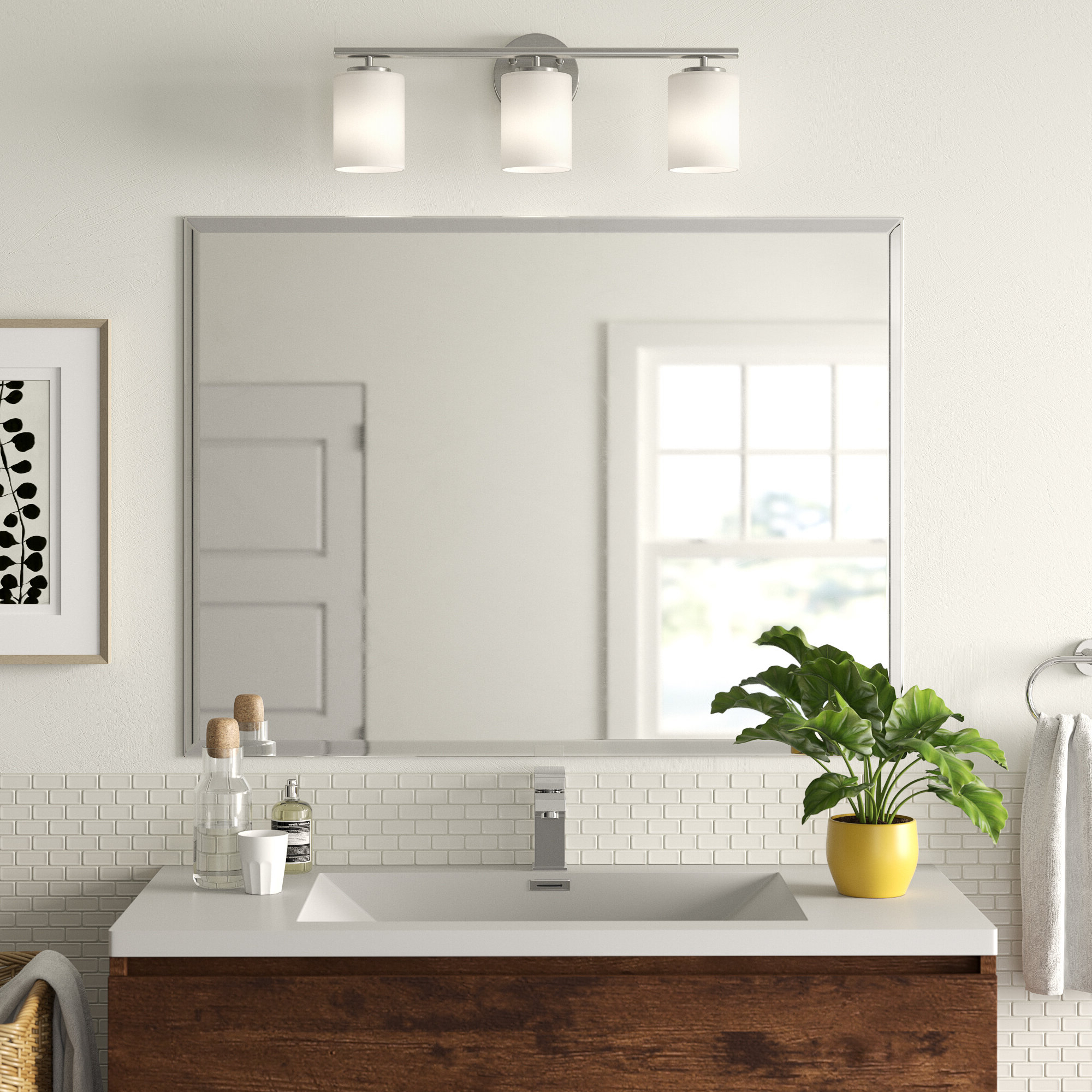 2020 Marylee Rectangle Beveled Polish Frameless Wall Mirror With Hooks In Modern Rectangular Wall Mirrors (View 16 of 20)