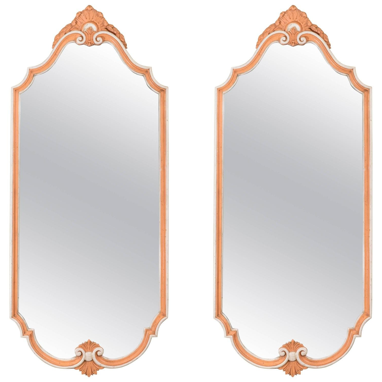2020 Orange Wall Mirrors Inside Pair Of Orange Hollywood Regency Wall Mirrorsjohn Widdicomb (View 11 of 20)