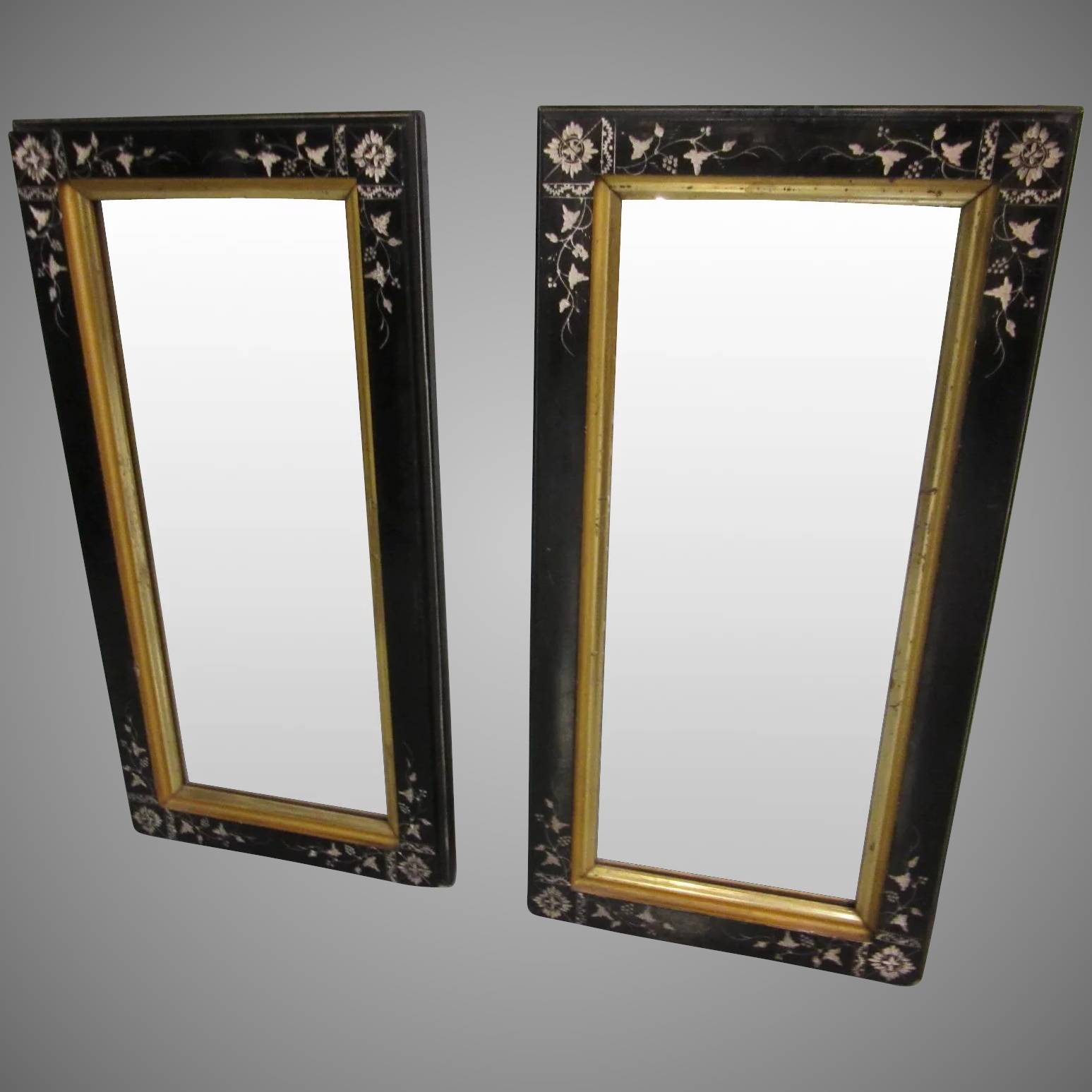 2020 Pair Eastlake Black Carved Lacquer With Gold Framed Wall Mirrors In Black And Gold Wall Mirrors (View 14 of 20)