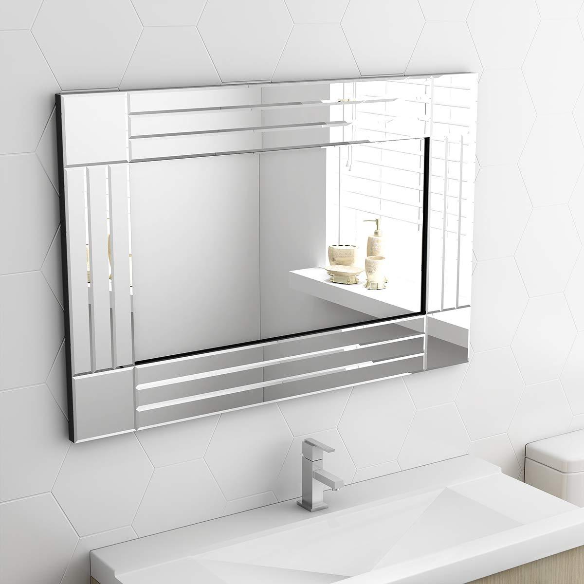 2020 Paldin Wall Hung Mirrors, Modern Wall Hung Bathroom Mirrors Large With Large Wall Mirrors For Bathroom (View 1 of 20)