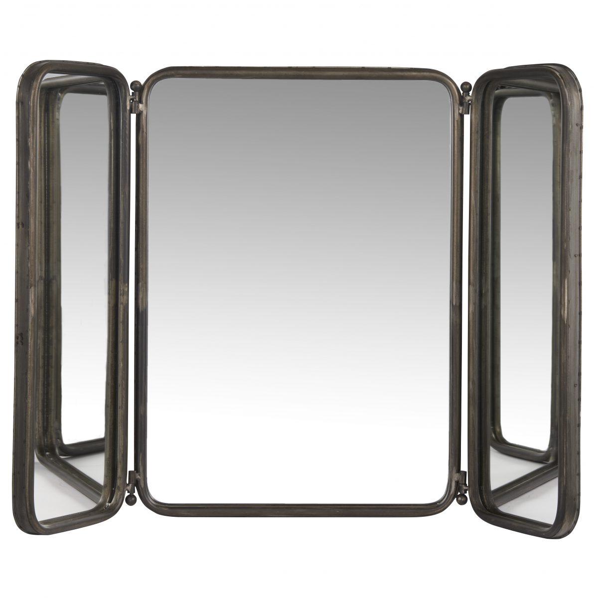 2020 Rustic Black Rectangular 3 Panel Folding Wall Hanging Mirrorib Laursen Throughout Folding Wall Mirrors (View 11 of 20)