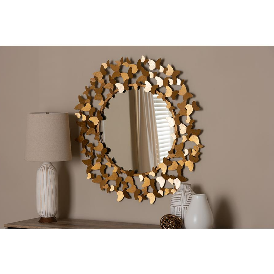 2020 Soleil Wall Mirrors Pertaining To Soleil Modern And Contemporary Antique Gold Finished Butterfly Accent Wall  Mirrorbaxton Studio (View 2 of 20)