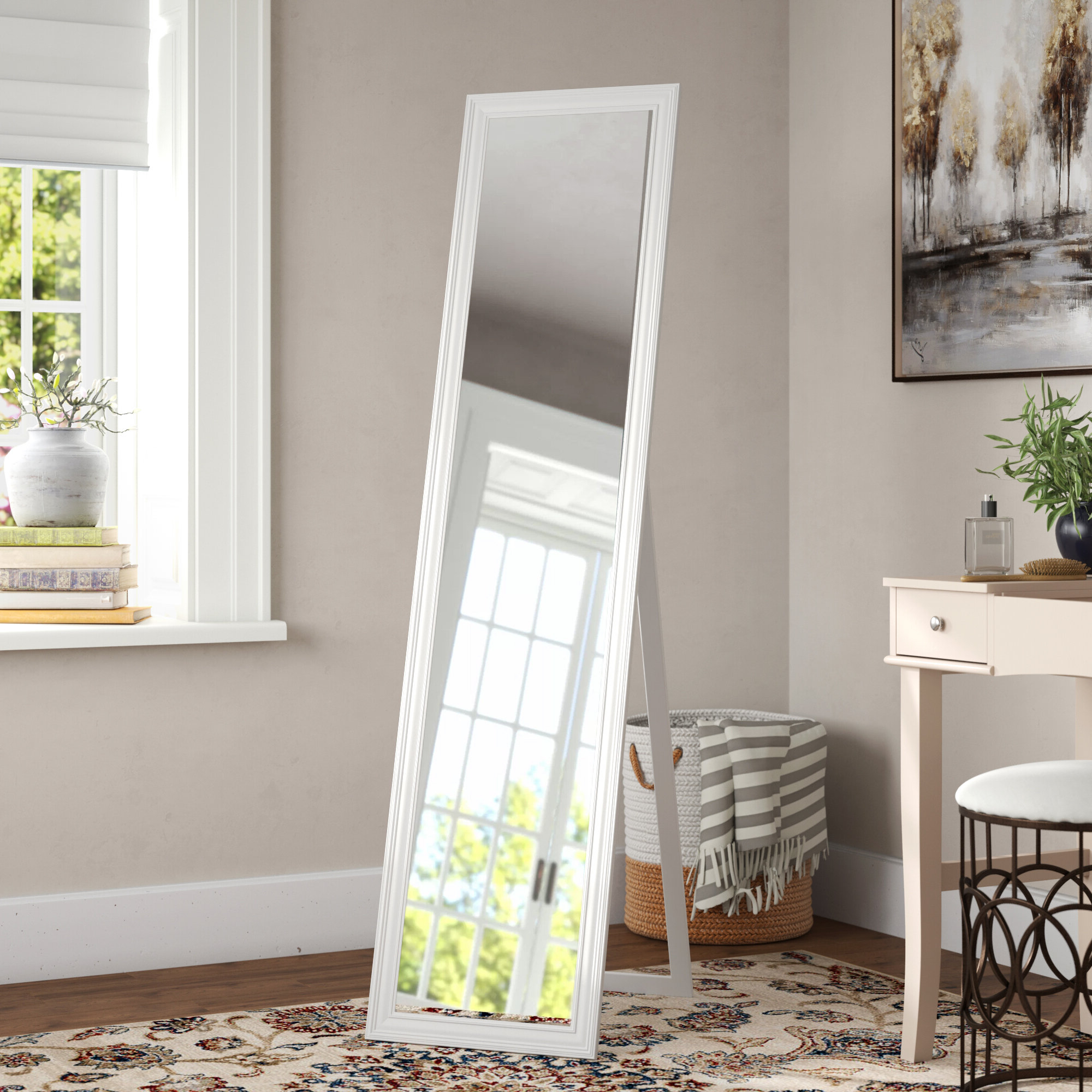 2020 Stand Up Wall Mirrors For Rectangle Rubberwood Standing Wall Mirror (View 5 of 20)