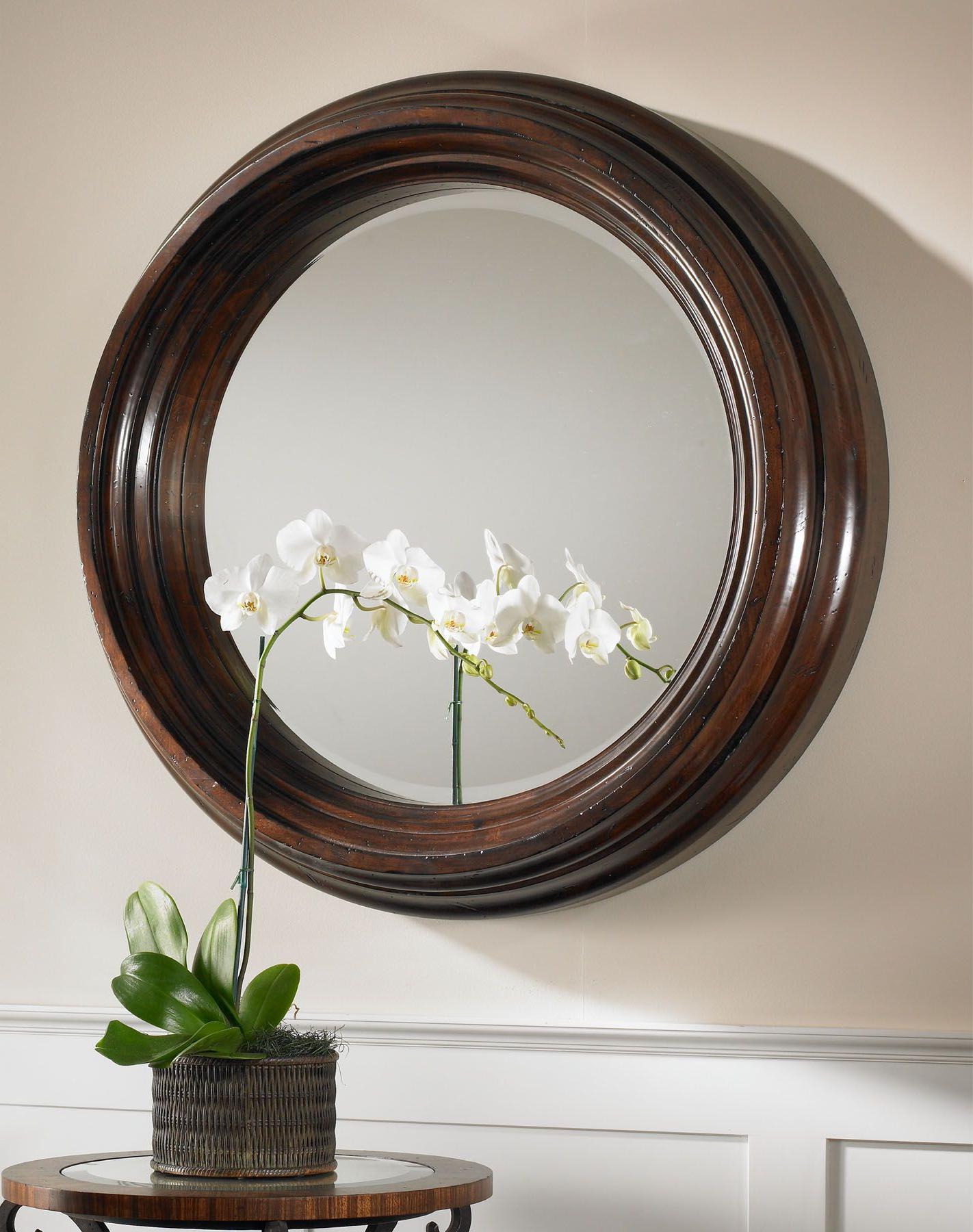 2020 Uttermost Cristiano Round Dark Wood Mirror (View 9 of 20)