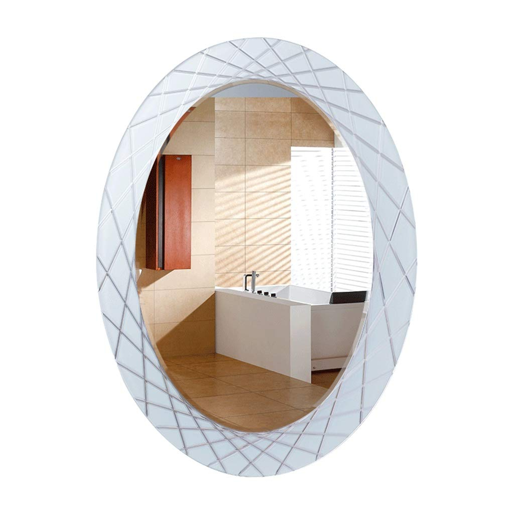 2020 Wall Mirrors Without Frame With Amazon: Bathroom Mirror Oval Wash Mirror Wall Mounted Hd (View 20 of 20)