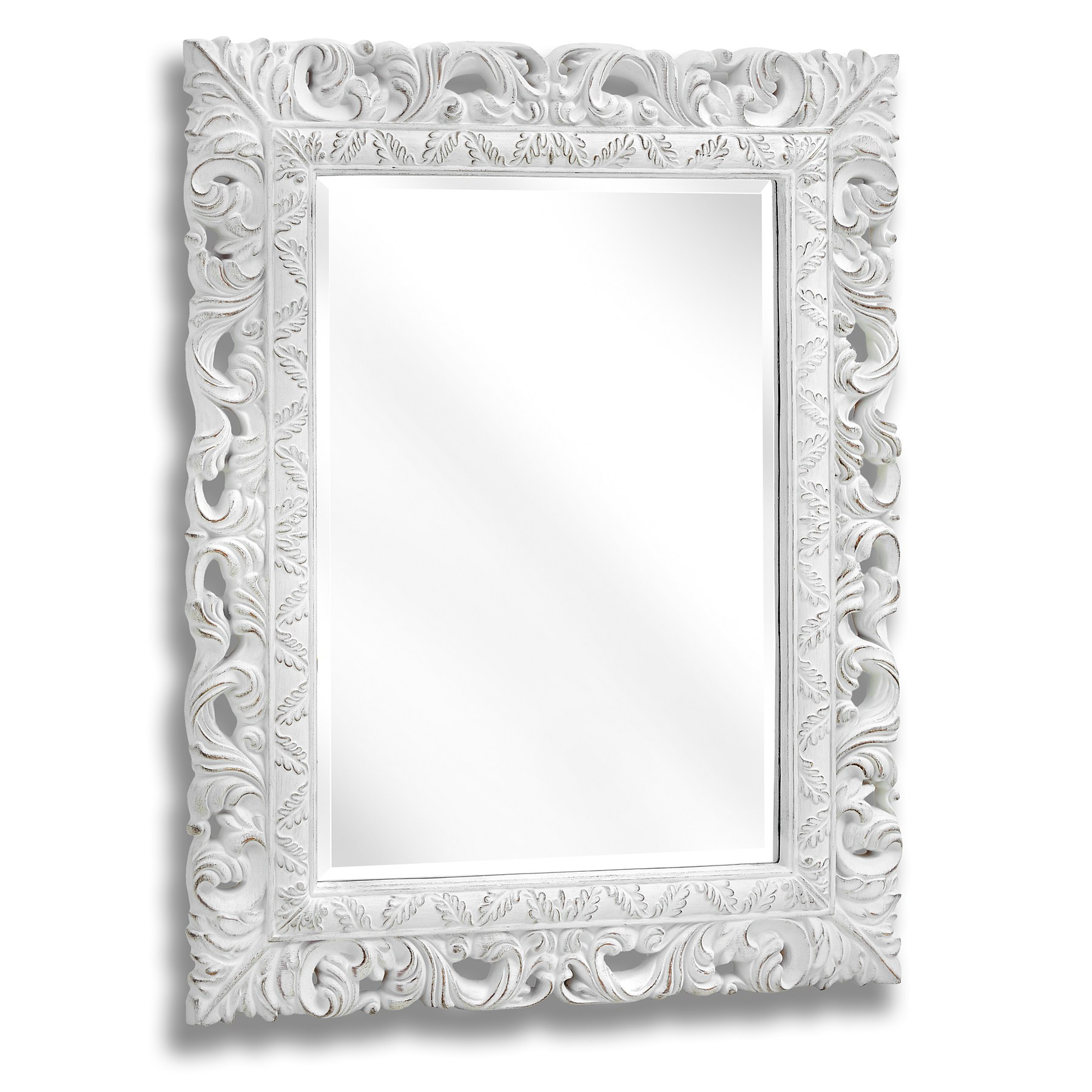 2020 White Frame Wall Mirrors In Antique White Ornate Leaf Wall Mirror (View 9 of 20)