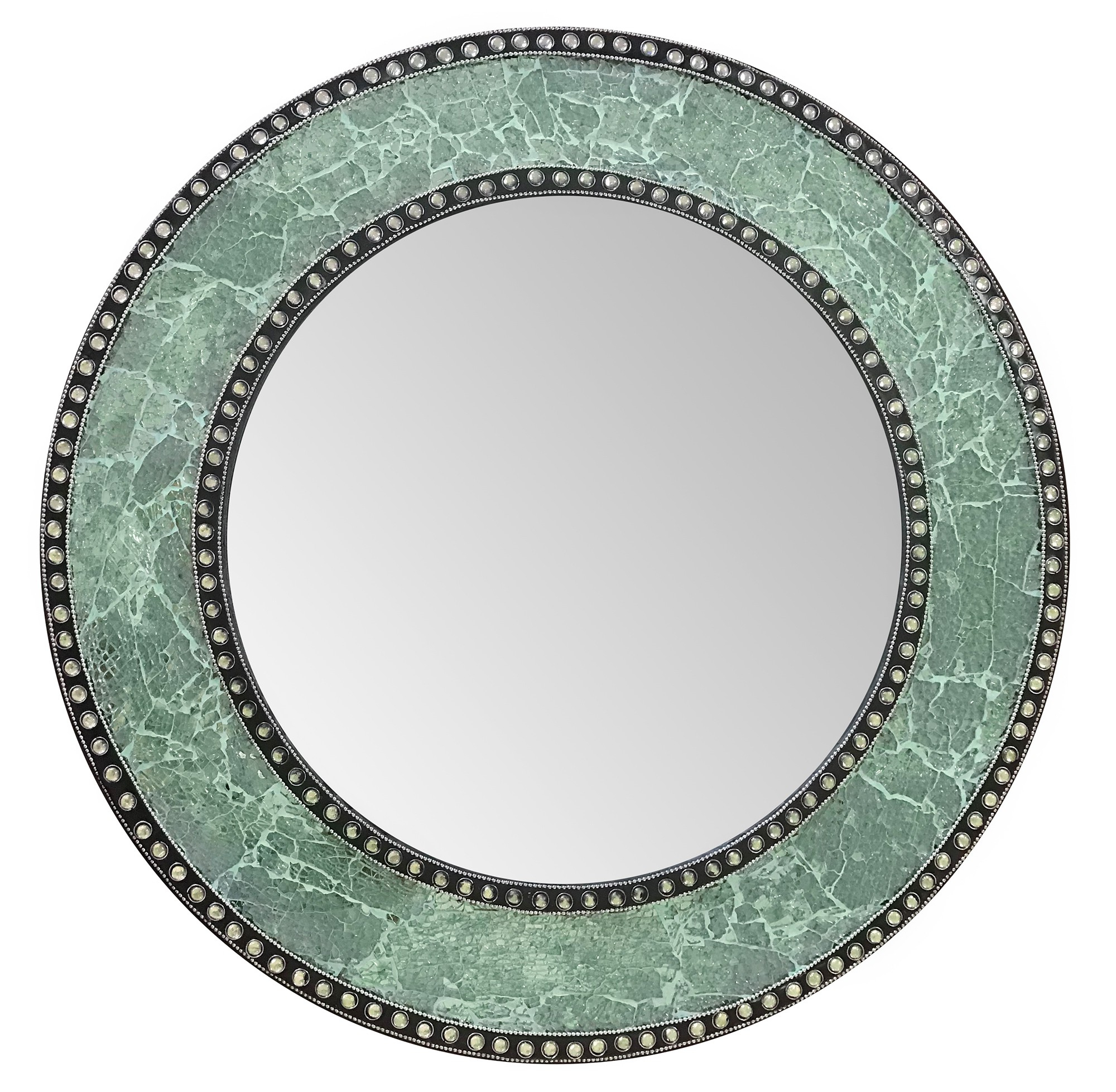 """24"""" Green Mosaic Decorative Handmade Crackle Glass Design Round Mosaic Accent Wall Mirrordecorshore Pertaining To Most Recently Released Round Mosaic Wall Mirrors (View 18 of 20)"""