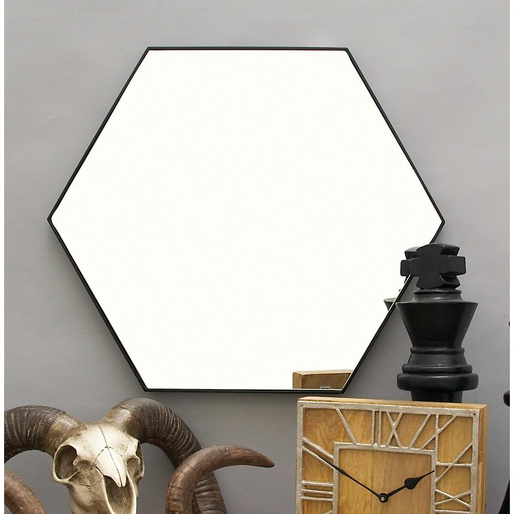24 In. X 21 In. Modern Hexagonal Black Wall Mirror For Trendy Modern Black Wall Mirrors (Gallery 10 of 20)