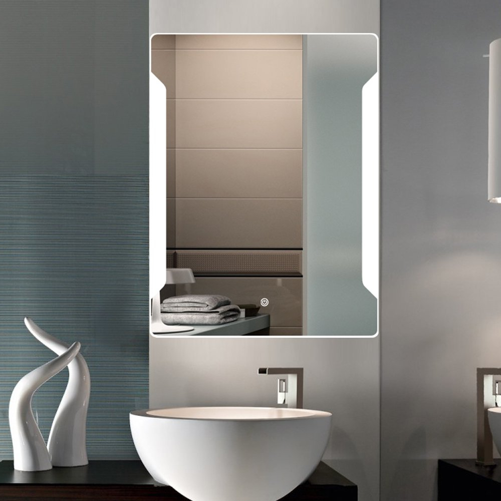 "24"" X 32"" Bathroom Wall Mirror Fensalir Backlit Wall Mounted Led Lighted Bathroom Slivered Makeup Mirror, Inside Well Known Backlit Bathroom Wall Mirrors (View 10 of 20)"
