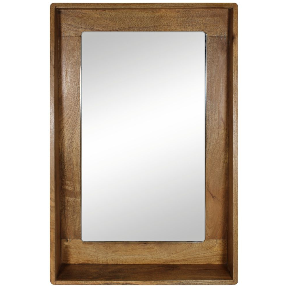 "24 X 36 Wall Mirrors Regarding Preferred Ingrid Natural Wood 24"" X36"" Shelf Frame Wall Mirror – Style # 6K945 (Gallery 15 of 20)"