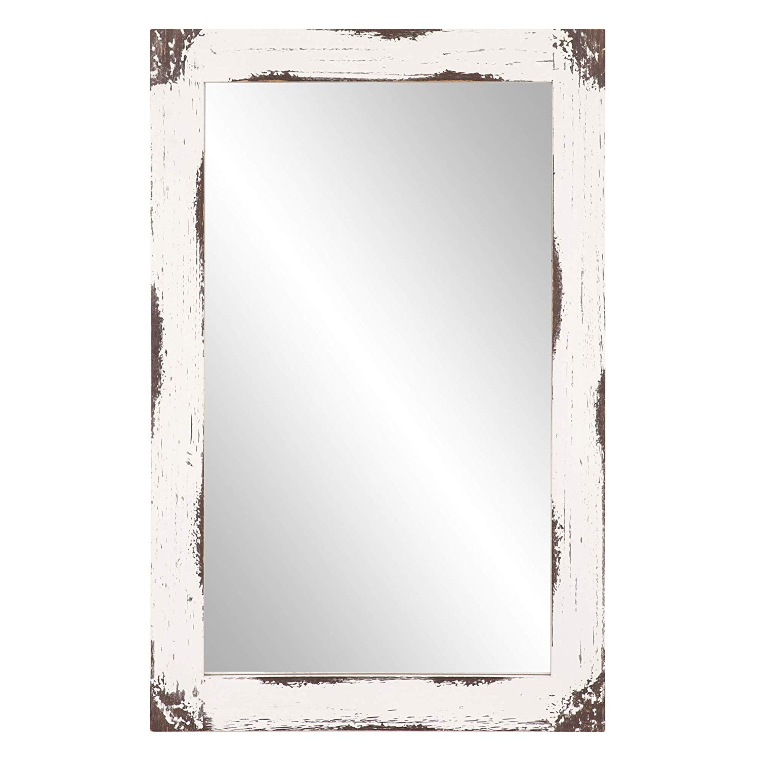 24x36 Distressed White Reclaimed Wood Wall Mirror With Regard To Widely Used Distressed White Wall Mirrors (View 5 of 20)