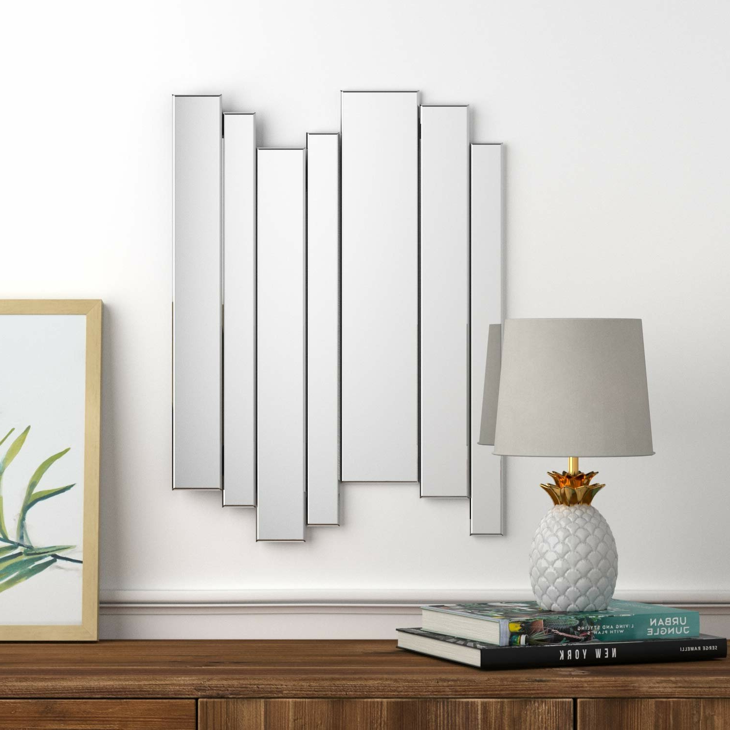 3 Piece Dima Hanging Modern & Contemporary Mirror Sets Throughout 2019 7 Piece Strip Modern Frameless Mirror Set (View 6 of 20)