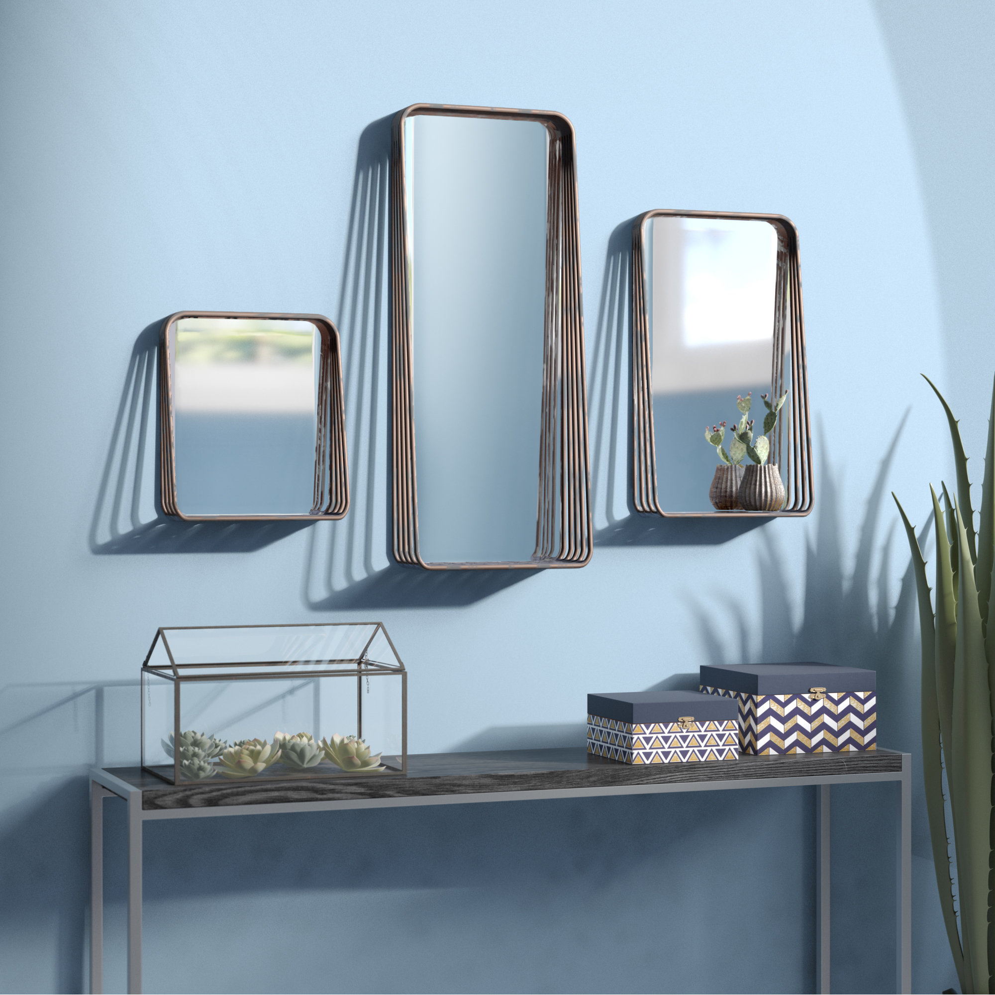 3 Piece Rectangle Mirror Set For Most Recent 3 Piece Dima Hanging Modern & Contemporary Mirror Sets (View 7 of 20)