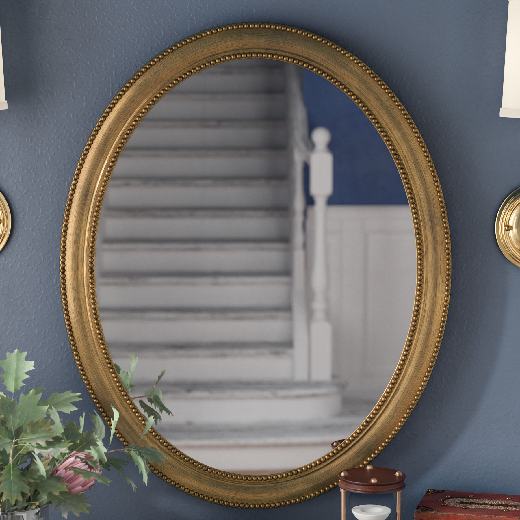 "30"" Oval Accent Mirror Intended For Latest Alie Traditional Beveled Distressed Accent Mirrors (Gallery 12 of 20)"