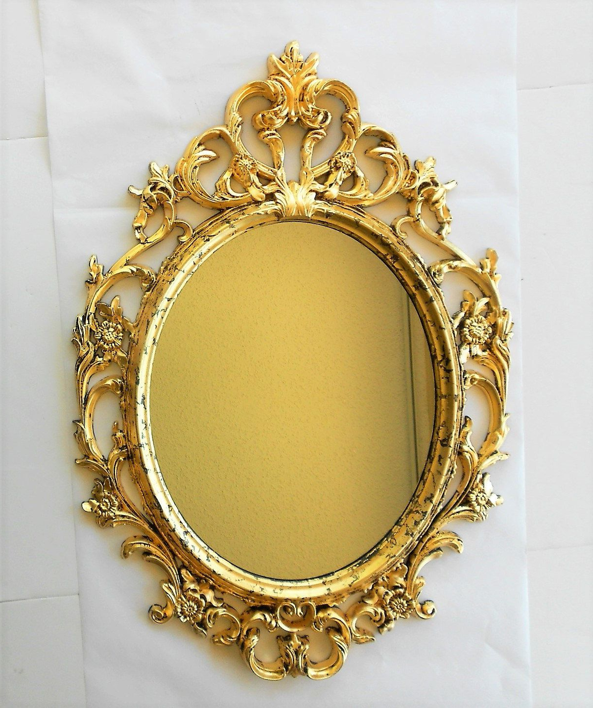 "33.5"" H, Mirror Gold, Gold Frame, Oval Mirror, Large Oval Pertaining To Most Up To Date Large Oval Wall Mirrors (Gallery 4 of 20)"