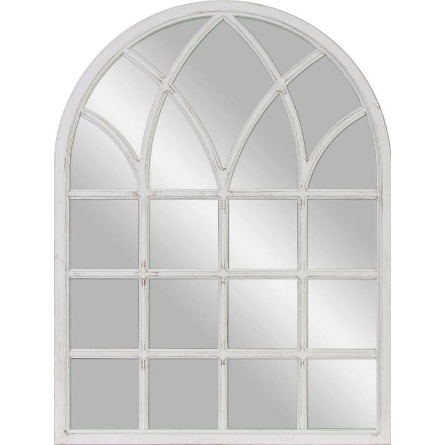 34 In L X 26 In W Arch White Polished Wall Mirror At Lowes With Trendy Arch Wall Mirrors (View 1 of 20)