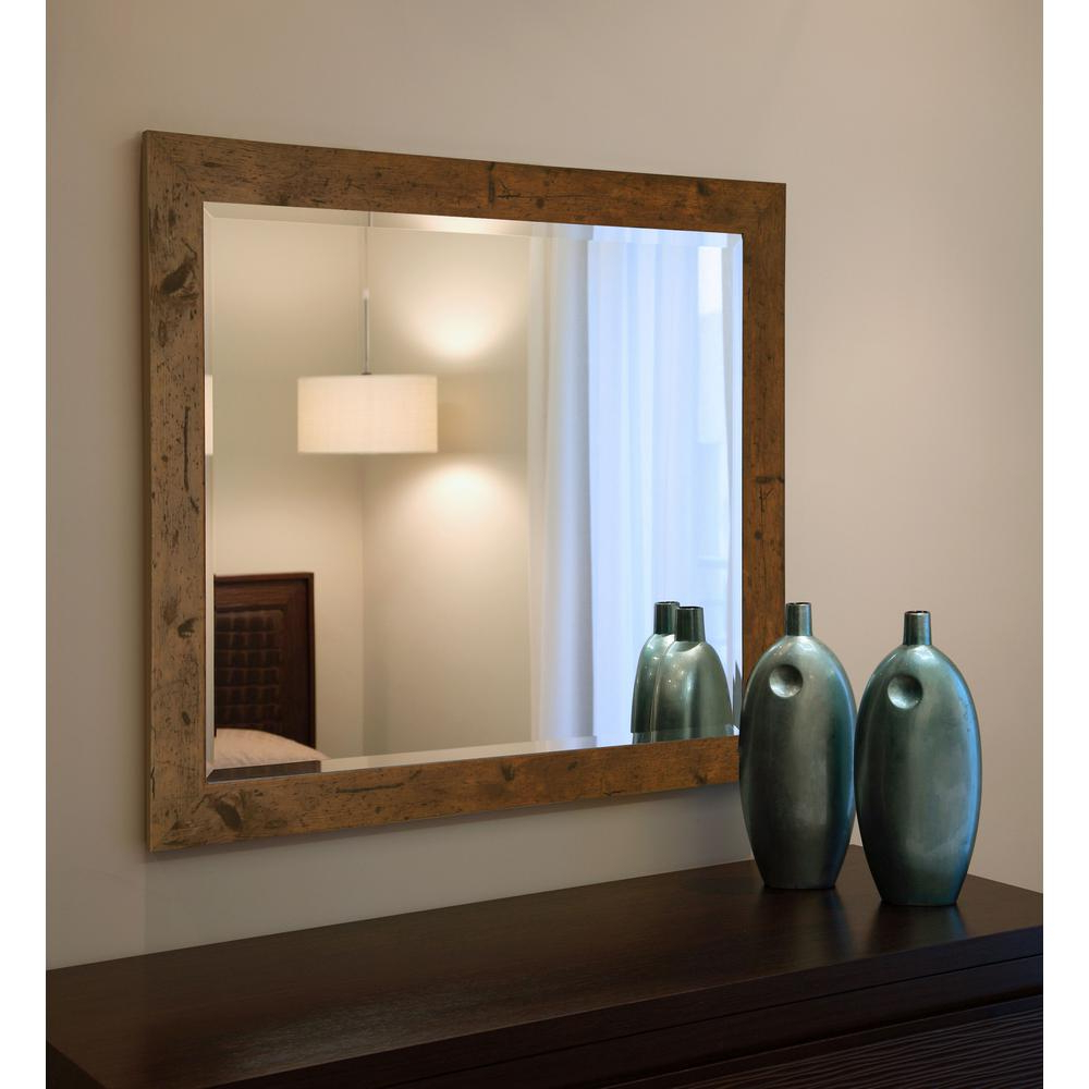35.5 In. X 41.5 In. Rustic Light Walnut Beveled Vanity Wall Mirror With Most Recent Vanity Wall Mirrors (Gallery 4 of 20)