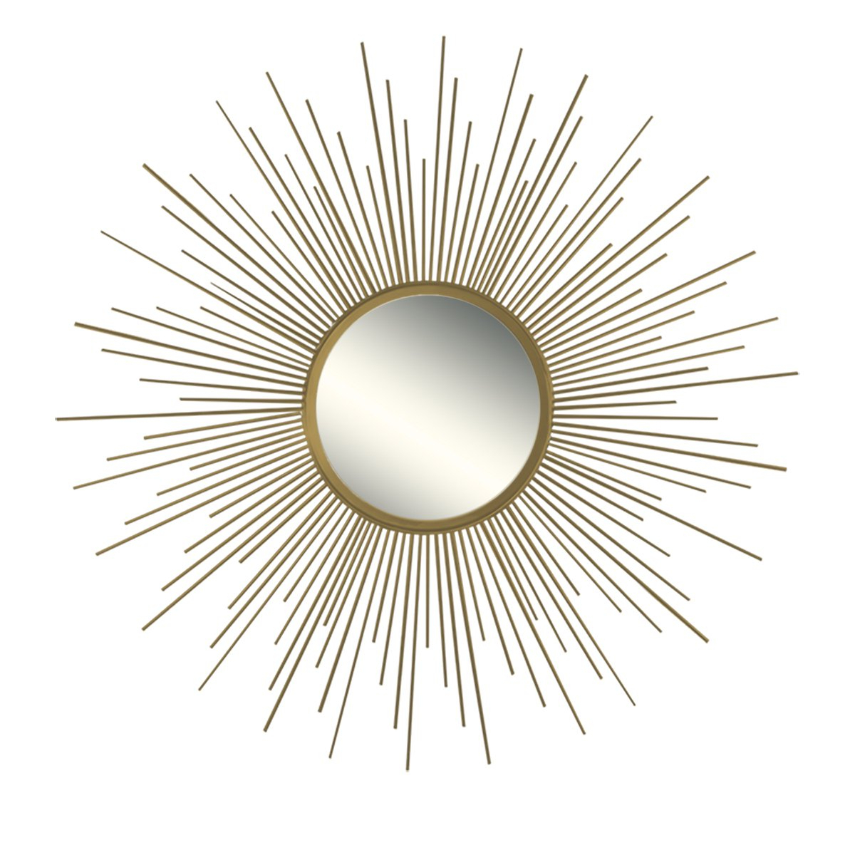 "36"" Decorative Wall Hanging Mirror In Sunburst Shape, Brushed Gold Sunburst Round Wall Mirror, Mid Century Modern Style Mirror, Brushed Gold Finish Pertaining To Latest Sunburst Wall Mirrors (View 14 of 20)"