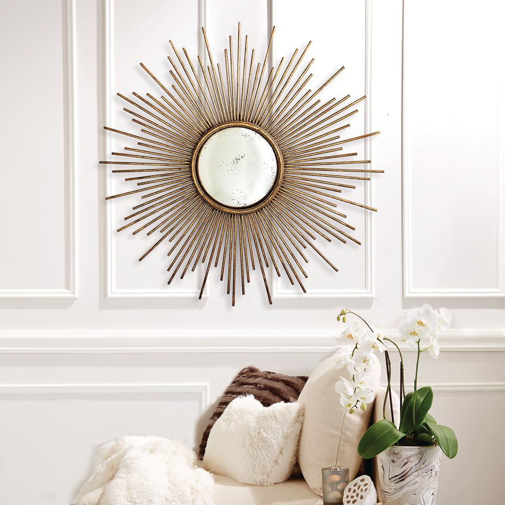 39 3/4 In. Dia Sunburst Antiqued Gold Wall Mirror Pertaining To 2019 Bedroom Wall Mirrors (Gallery 19 of 20)