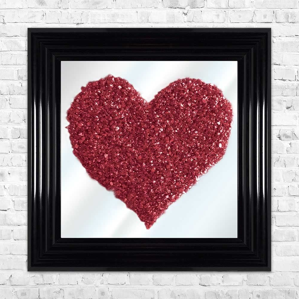 3d Crushed Glass Red Heart On Mirror Framed Wall Art Pertaining To Most Popular Red Framed Wall Mirrors (View 16 of 20)