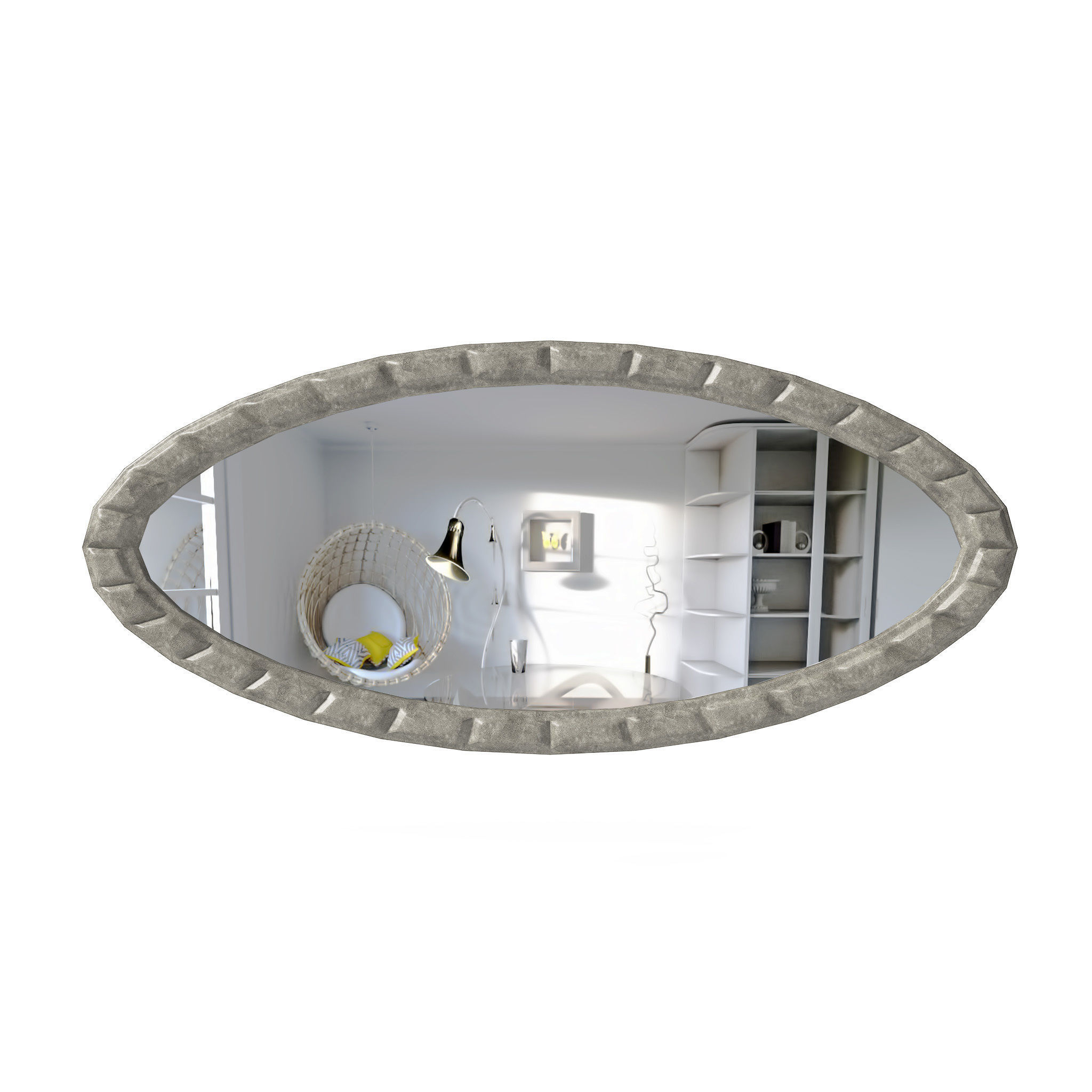 3D Model In Popular Large Oval Wall Mirrors (Gallery 19 of 20)