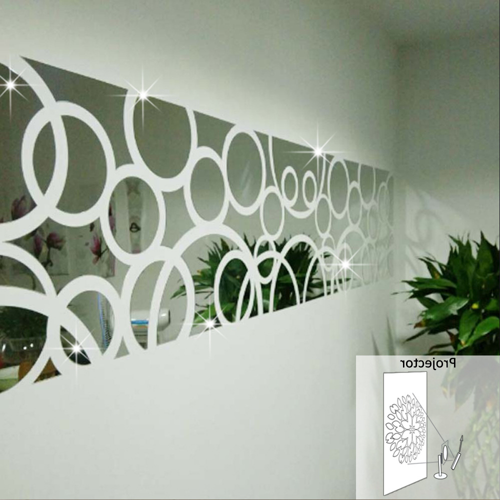 3d Three Dimensional Crystal Decorative Mirror Decals Acrylic Mirrored Decorative Sticker Home Decoration Wall Mirror Stickers In Wall Stickers From With Regard To Most Recently Released Wall Mirror Decals (View 1 of 20)