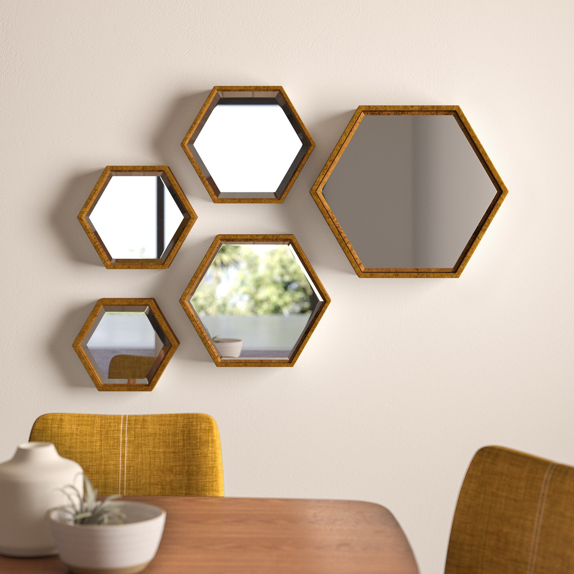 5 Piece Ashford Hexagonal Mirror Set Intended For Popular Gia Hexagon Accent Mirrors (View 2 of 20)